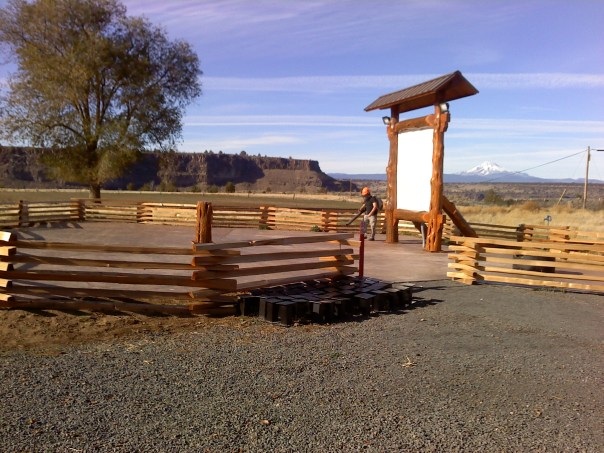 The Crooked River Amphitheater, sad and lonely with no benches.