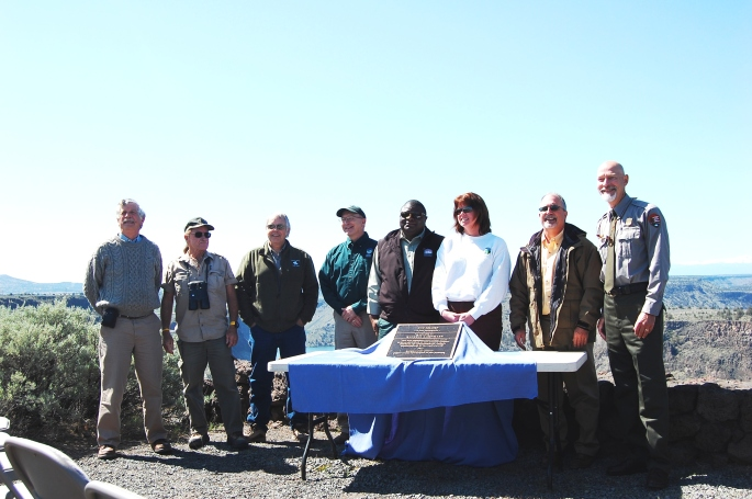 The keynote speakers at the Island National Natural Landmark Ceremony and the unveiling of the plack.