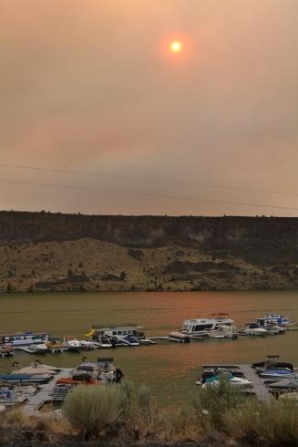 sunset and bridge 99 fire smoke pics 2014 051