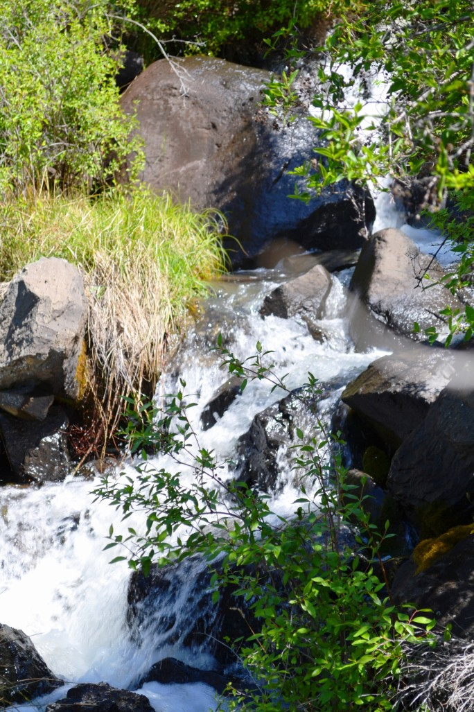 The waterfalls are flowing, creating micro-ecosystems that give life to an otherwise dry, desert landscape.