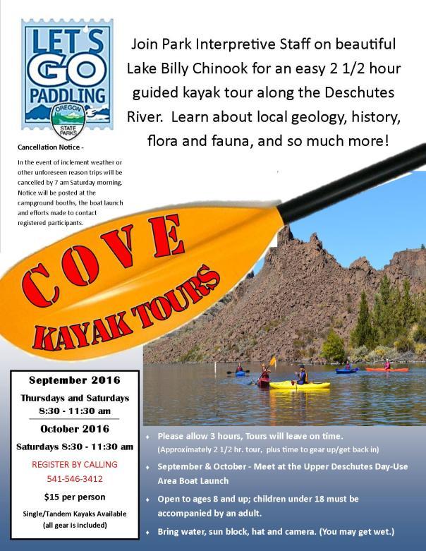 Cove Kayak Tour Flyer